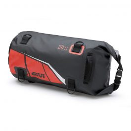 Bolsa rulo impermeable de sillín o portapaquetes 30 litros; base negra con impresiones rojo; gris y plata reflectante.