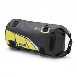 Bolsa rulo impermeable de sillín o portapaquetes; 30 litros; base negra con impresiones amarilla; gris y plata reflectante.