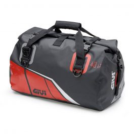 Bolsa sillín grande impermeable 40 litros; base negra con impresiones rojo; gris y plata reflectante.