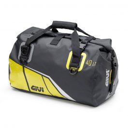 Bolsa sillín grande impermeable 40 litros; base negra con impresiones amarilla; gris y plata reflectante.